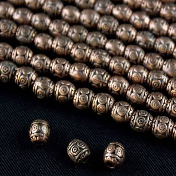 Vintage Copper Colored Pewter 6mm Barrel Beads with 3 Dotted Rows - approx. 8 inch strand - basea0888vc