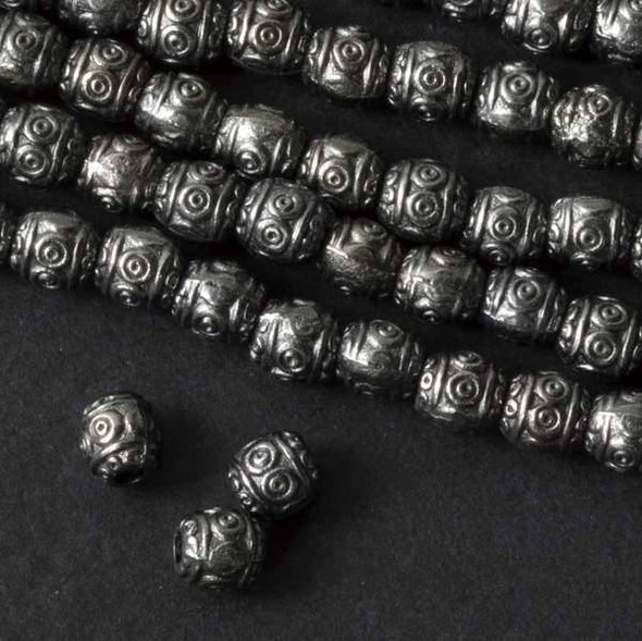 Gun Metal Colored Pewter 6mm Barrel Bead w/ 3 Dotted Rows  - approx. 8 inch strand - basea0888gm