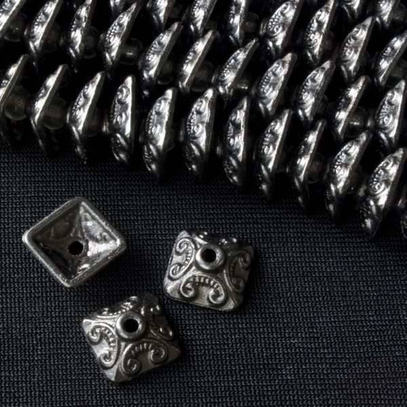 Gun Metal Colored Pewter 10mm Square Bead Cap - Basea0893gm