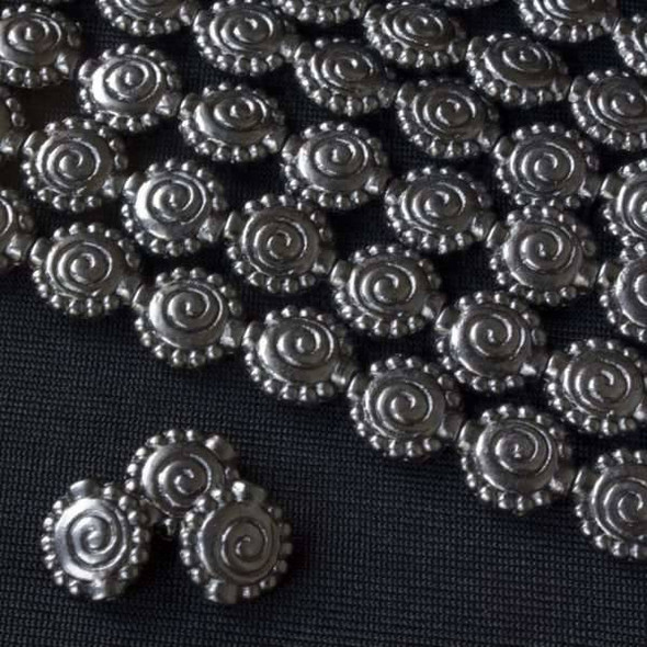Gun Metal Colored Pewter 10mm Flat Spiral Bead w/ Dotting Around Edging  - approx. 8 inch strand - Basea0897gm