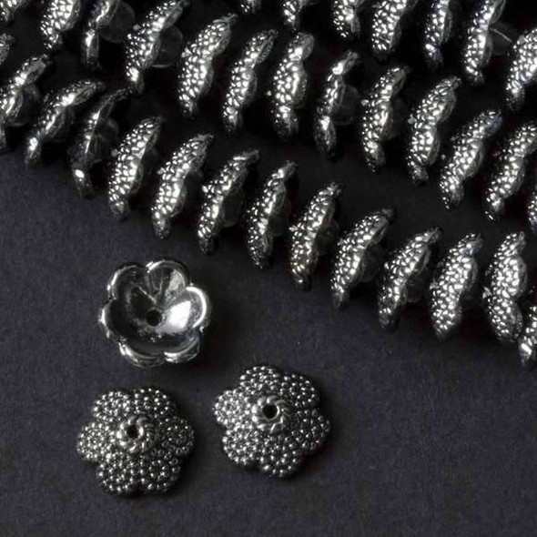 Gun Metal Colored Pewter 5x12mm Bead Cap with Textured Circles  - approx. 8 inch strand - basea0917gm
