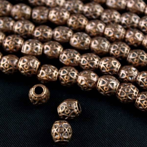 Vintage Copper Colored Pewter 8mm Barrel Beads with Triangles and Circles - approx. 8 inch strand - basea0934vc