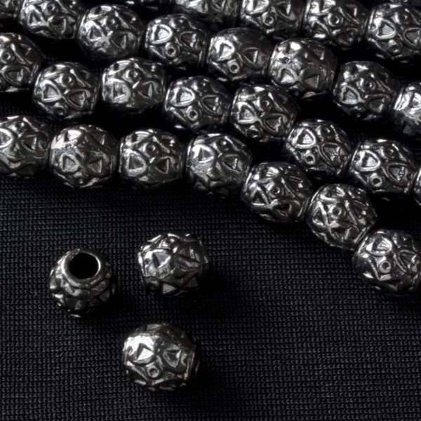 Gun Metal Colored Pewter 8mm Barrel Bead with Triangles and Circles  - approx. 8 inch strand - Basea0934gm