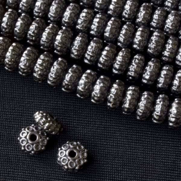 Gun Metal Colored Pewter 4x8mm Rondelle Bead with Side Circles  - approx. 8 inch strand - Basea0950gm