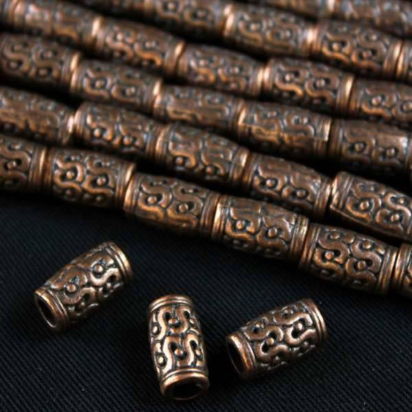 Vintage Copper Colored Pewter 7x12mm Tube Beads with Double S's & Dots - approx. 8 inch strand - basea0984vc