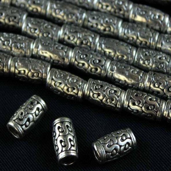 Silver Pewter 7x12mm Tube Beads with Double S's & Dots - approx. 8 inch strand - basea0984s