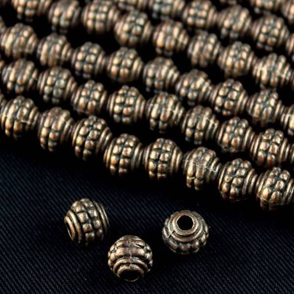 Vintage Copper Colored Pewter 7mm Double Dotted Barrel Beads - approx. 8 inch strand - basea0989vc