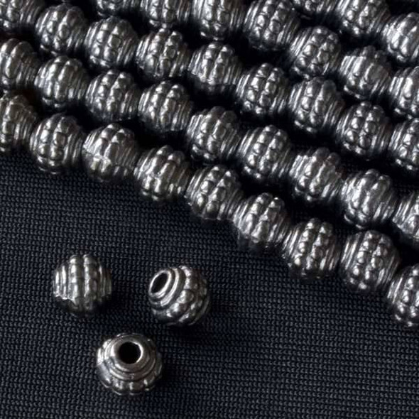 Gun Metal Colored Pewter 7mm Double Dotted Barrel Bead  - approx. 8 inch strand - Basea0989gm