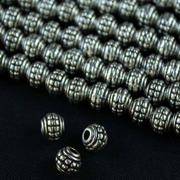 Silver Pewter 7mm Double Dotted Barrel Beads - approx. 8 inch strand - basea0989s