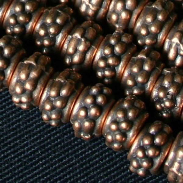 Vintage Copper Colored Pewter 4x7mm Dotted Tube Beads - approx. 8 inch strand - basea0994vc