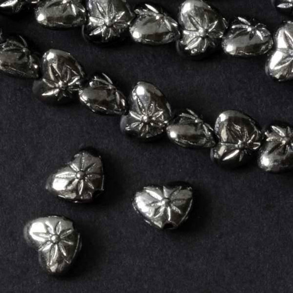 Gun Metal Colored Pewter 6x8mm Heart Beads  - approx. 8 inch strand - basea0999gm