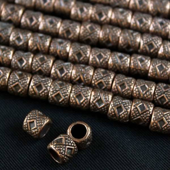 Vintage Copper Colored Pewter 6x7mm Diamond Barrel Beads - approx. 8 inch strand - basea1003vc