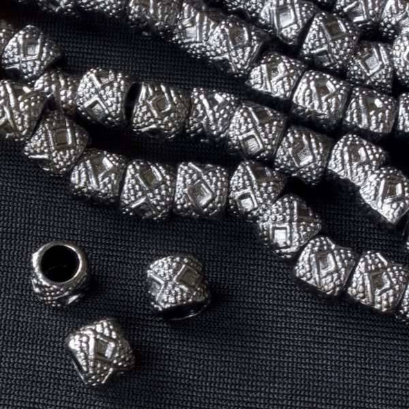 Gun Metal Colored Pewter 6x7mm Diamond Barrel Bead  - approx. 8 inch strand - Basea1003gm