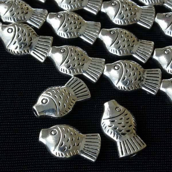 Silver Pewter Thai Style 9x15mm Fish Beads - approx. 8 inch strand - basea10100s