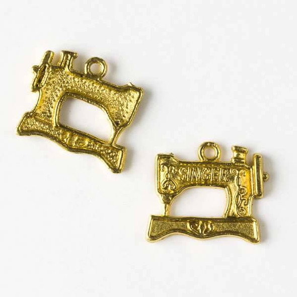 Gold Colored Pewter 18x20mm Singer Sewing Machine Charm - 10 per bag