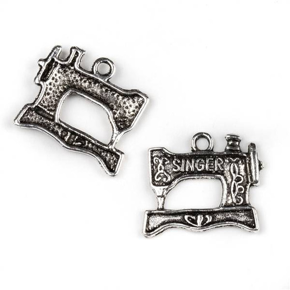 Silver Pewter 18x20mm Singer Sewing Machine Charm - 10 per bag