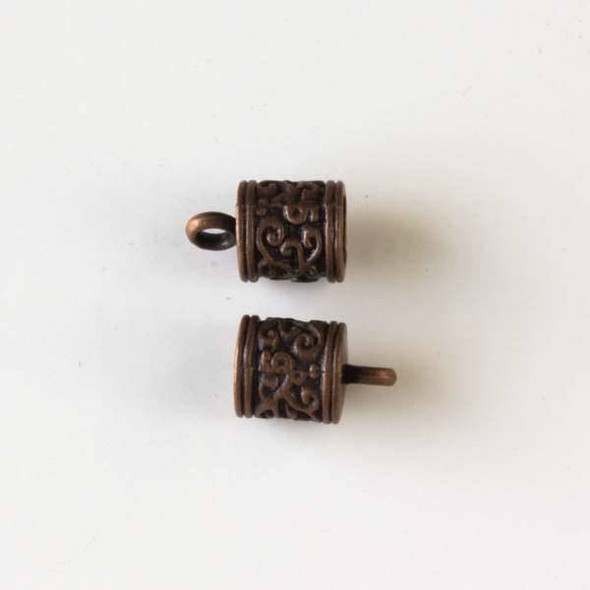 Vintage Copper Colored Pewter 8x13mm Cord Ends with a Climbing Vine Pattern and a 5mm Hole - 10 per bag - basea10887vc
