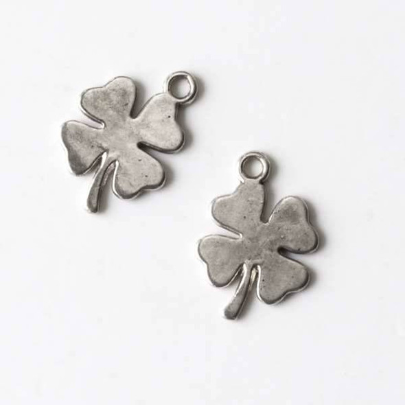 Silver Pewter 12x18mm Four Leaf Clover - 10 per bag