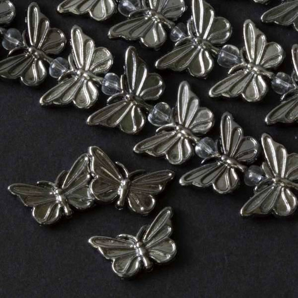 Gun Metal Colored Pewter 10x17mm Butterfly  - approx. 8 inch strand - basea14230gm