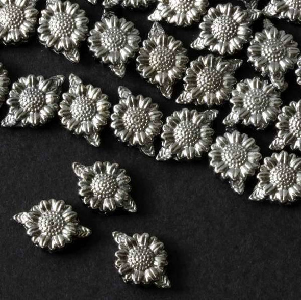 Gun Metal Colored Pewter 13mm Leaf to Leaf 3mm Thick Sunflower  - approx. 8 inch strand - basea14232gm