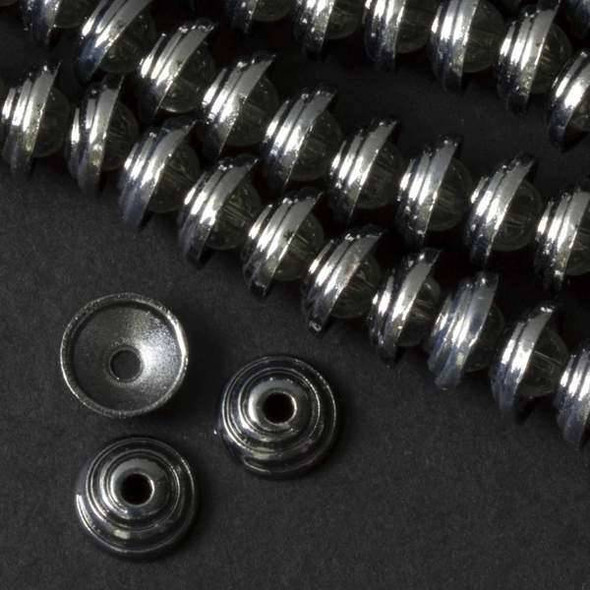 Gun Metal Colored Pewter 4x11mm Spiral Bead Cap  - approx. 8 inch strand - basea14840gm