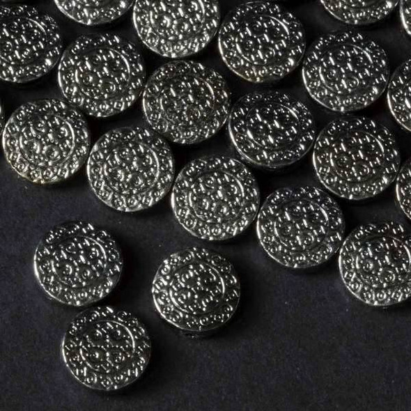 Gun Metal Colored Pewter 12mm Coin with Diamonds and Spirals  - approx. 8 inch strand - basea15026gm