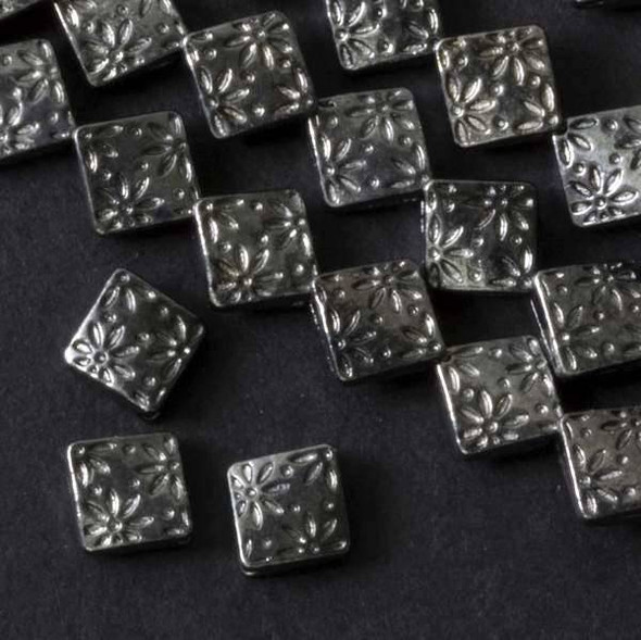 Gun Metal Colored Pewter 7mm Thai Style Diamond with Stamped Flowers - approx. 8 inch strand - basea15178gm