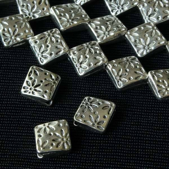 Silver Pewter 7mm Thai Style Diamond Beads with Stamped Flowers - approx. 8 inch strand - basea15178s