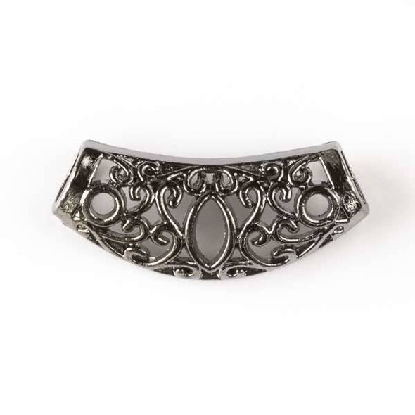 Gun Metal Colored Pewter 13x30mm Center Piece with Marquise and 6mm Large Hole - 6 per bag - basea16022gm