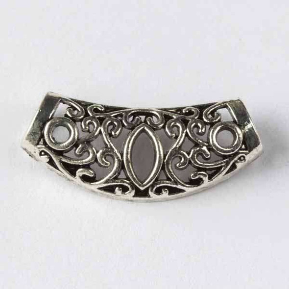 Silver Pewter 13x30mm Center Piece with Marquise and 6mm Large Hole - 3 per bag - basea16022s