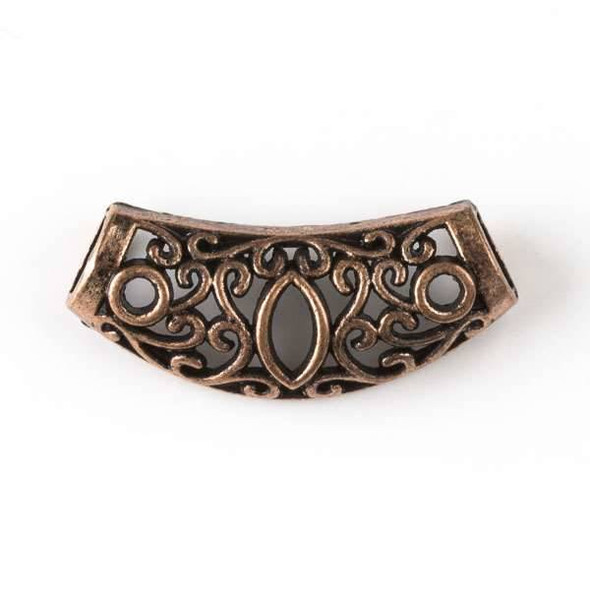 Vintage Copper Colored Pewter 13x30mm Center Piece with Marquise and 6mm Large Hole - 3 per bag - basea16022vc