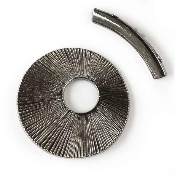 Gun Metal Colored Pewter 40mm Sun Disc Toggle - 2 per bag - basea1607gm