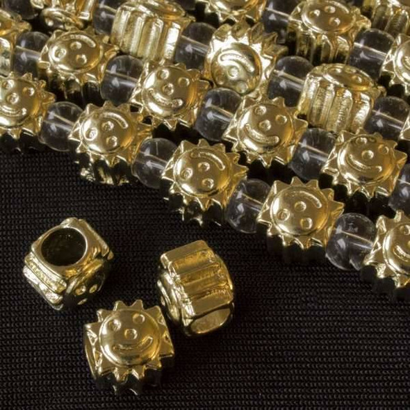 Gold Colored Pewter 9x10mm Horizontally Drilled and Large Hole Sun Beads - approx. 8 inch strand - basea19497g