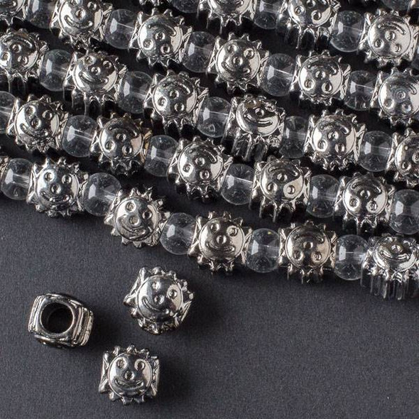 Gun Metal Colored Pewter 9x10mm Horizontally Drilled and Large Hole Sun Bead  - approx. 8 inch strand - basea19497gm