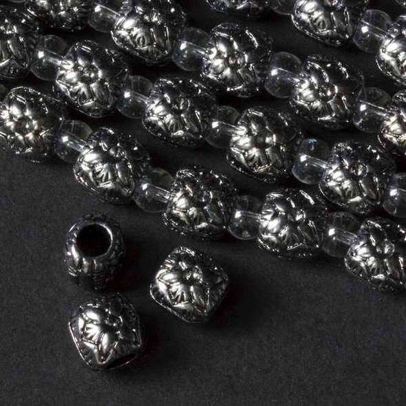 Gun Metal Colored Pewter 10mm Large Hole and Rounded Puff Square with a Poinsettia on each side - approx. 8 inch strand - basea24308gm