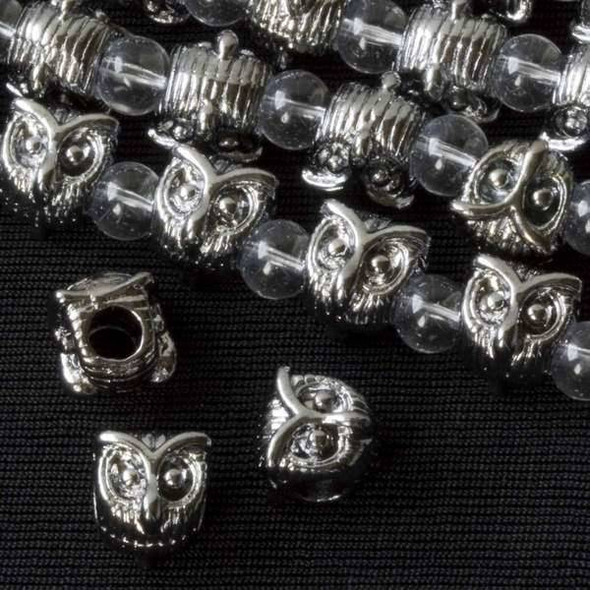 Gun Metal Colored Pewter 10mm Horizontally Drilled and Large Hole Owl Head Bead - approx. 8 inch strand - basea24313gm