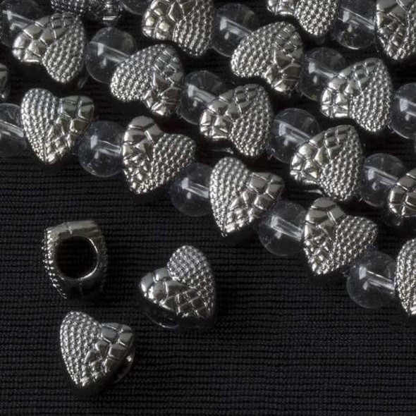 Gun Metal Colored Pewter 9x10mm Large Hole Heart Bead with Scales - approx. 8 inch strand - basea25171gm