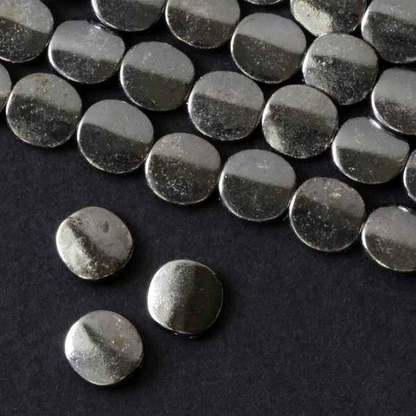 Gun Metal Colored Pewter 10mm Convex Coin Beads - approx. 8 inch strand - basea25364gm