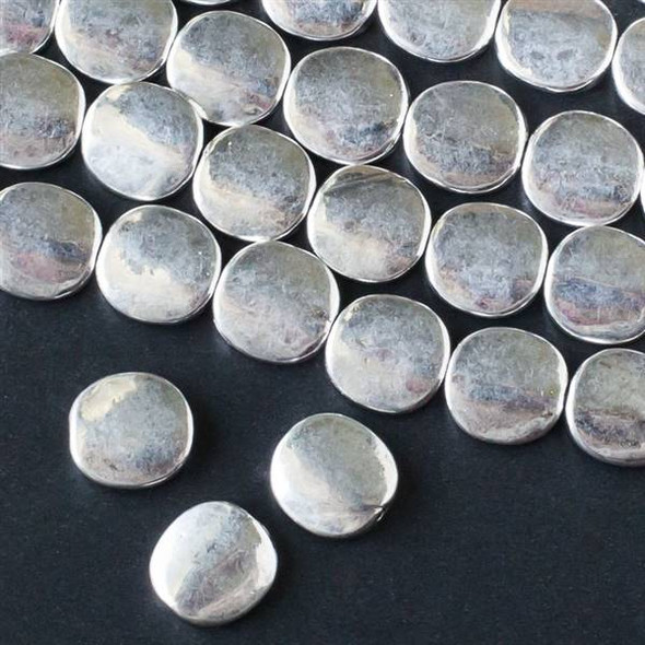 Silver Pewter 10mm Convex Coin Beads - approx. 8 inch strand - basea25364s