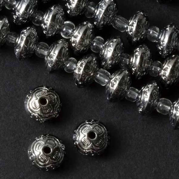 Gun Metal Colored Pewter 6x10mm Thai Style Rondelle with Stamped Floral Design - approx. 8 inch strand - basea25846gm