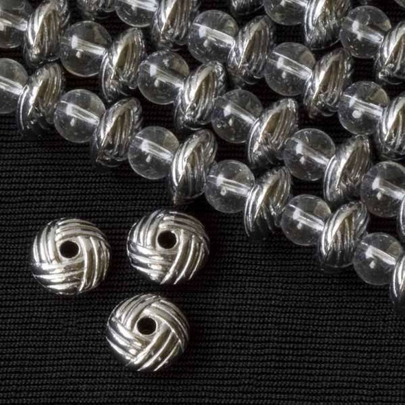 Gun Metal Colored Pewter 5x10mm Rondelle with a Rope Pattern - approx. 8 inch strand - basea25847gm