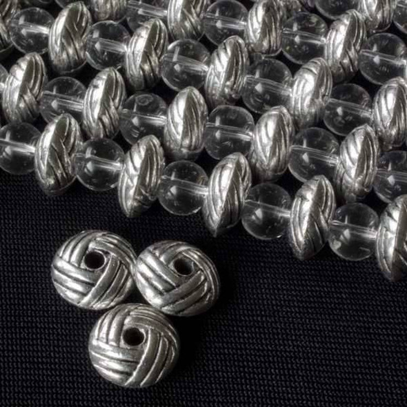Silver Pewter 5x10mm Rondelle Beads with a Rope Pattern - approx. 8 inch strand - basea25847s