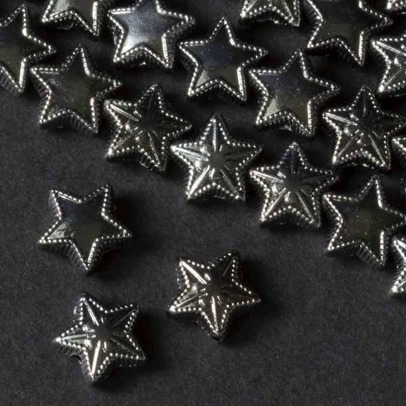 Gun Metal Colored Pewter 10mm 2 Sided Puff Star Beads - approx. 8 inch strand - basea26088gm