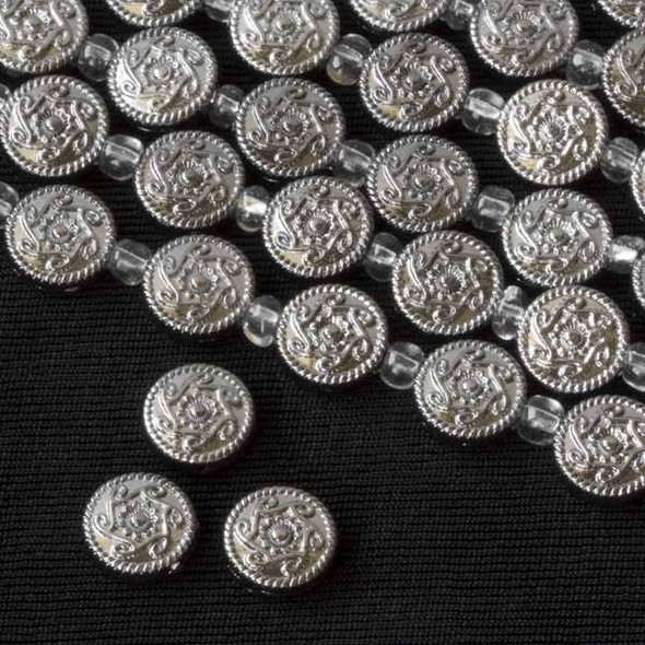 Gun Metal Colored Pewter 10mm Coin with Flower and Swirl Pattern - approx. 8 inch strand - basea26874gm