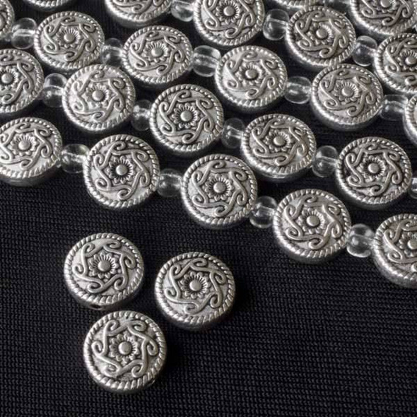 Silver Pewter 10mm Coin Beads with Flower and Swirl Pattern - approx. 8 inch strand - basea26874s