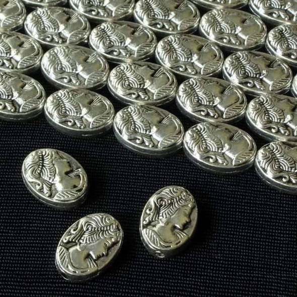 Silver Pewter 10x14mm Oval Beads with Lady Cameo - approx. 8 inch strand - basea26990s