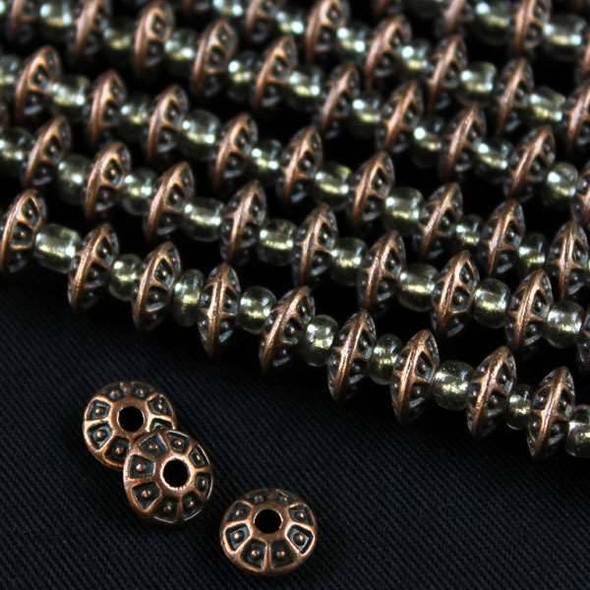 Vintage Copper Colored Pewter 4x8mm Rondelle Beads with Sides Separated and Center Dots - approx. 8 inch strand - basea2842vc