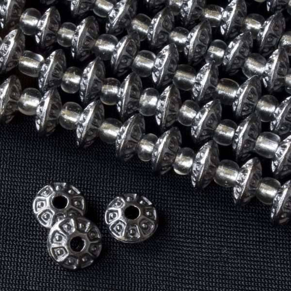 Gun Metal Colored Pewter 4x8mm Rondelle Bead w/ Sides Separated and Center Dots - approx. 8 inch strand - Basea2842gm