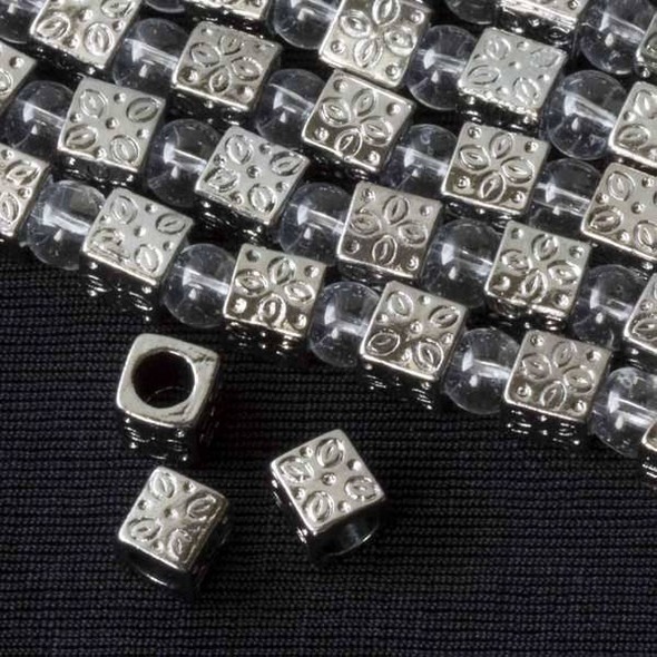 Gun Metal Colored Pewter 7mm Large Hole Cube with Flower Pattern - approx. 8 inch strand - basea28589gm