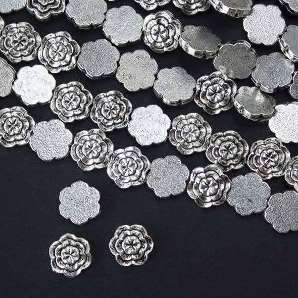 Silver Pewter 11mm Double Sided and Layered Flower Beads - approx. 8 inch strand - basea29091s